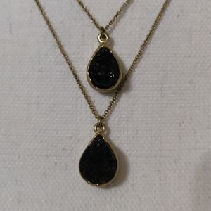 Black obsidian and gold women' necklace adjustable